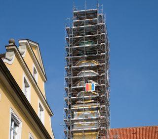 Fassadengerüst Wetterschutzdach und Sanierung des Klosters